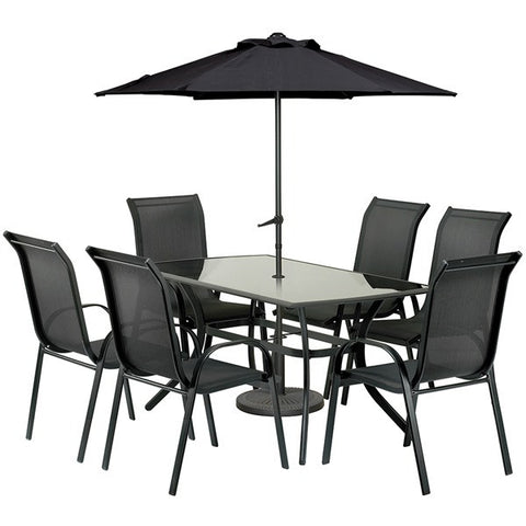 Royalcraft Cayman 8pc Black Rectangular Stacking Set.