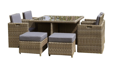 Royalcraft Wentworth Rattan 8 Seater Cube Set.