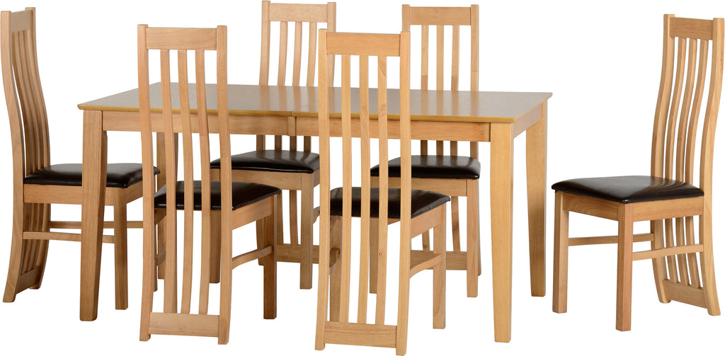 Ashleigh Extending Dining Table Set & Six Chairs Brown - lovefurnitureuk - 1