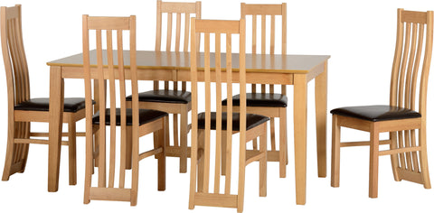 Ashleigh Extending Dining Table Set & Six Chairs Brown