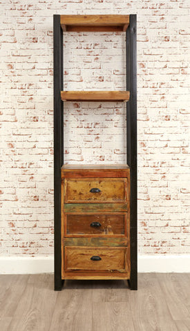Urban Chic Reclaimed Alcove Bookcase With Drawers