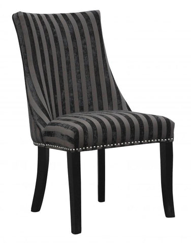 Set Of Four Balmoral Velvet Stripe Charcoal Upholstered Chairs