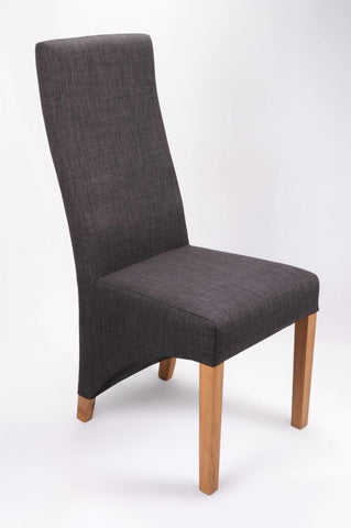 Set Of Six Baxter Upholstered High Back Fabric Charcoal Chairs
