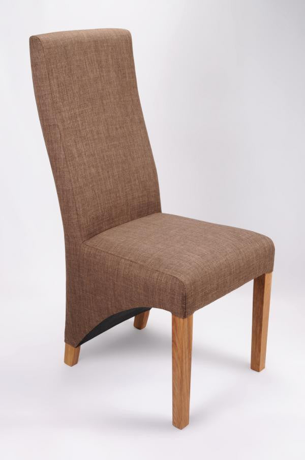 Set Of Four Baxter Upholstered High Back Fabric Cinnamon Chairs - lovefurnitureuk - 1
