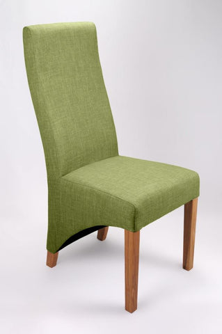 Set Of Four Baxter Upholstered High Back Fabric Lime Chairs