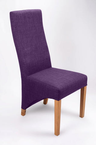 Set Of Four Baxter Upholstered High Back Fabric Plum Chairs