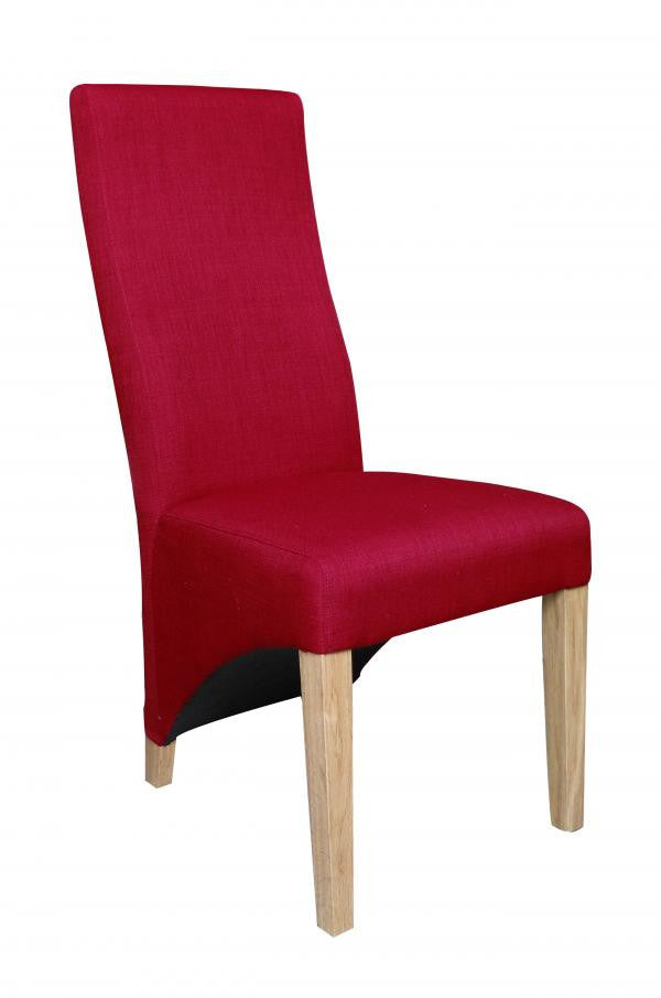 Set Of Four Baxter Upholstered High Back Fabric Red Chairs - lovefurnitureuk - 1