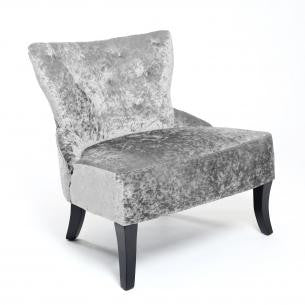 Belgravia Crushed Velvet Upholstered Silver Chair