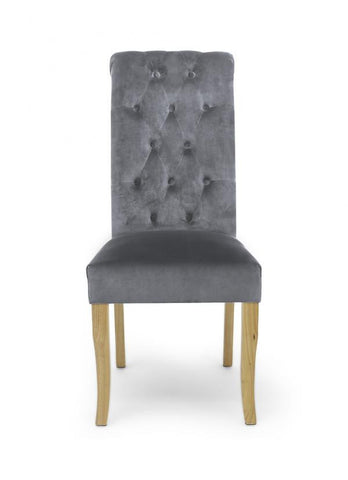 A Pair Of Bronte Brushed Velvet Grey High Back Dining Chairs