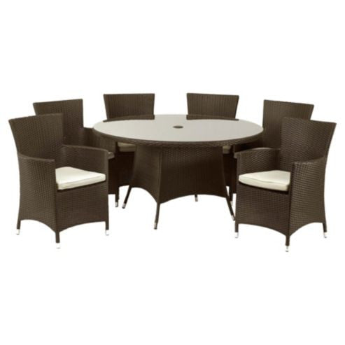 Royalcraft Cannes Brown Rattan 7 Piece Dining Set - lovefurnitureuk