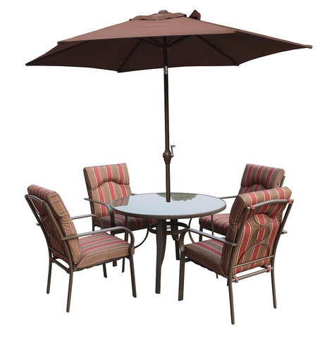 Royalcraft Amalfi 6pc Round Set with Chocolate Parasol