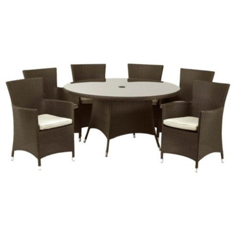 Royalcraft Cannes Mocha Brown 7pc Fixed Rattan Dining Set