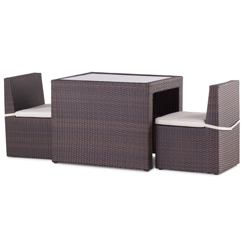 Royalcraft Cannes Mocha Brown 3pc Rattan Cube Breakfast Set