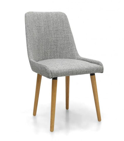 A Pair Of Capri Grey Weave Upholstered Dining Chairs