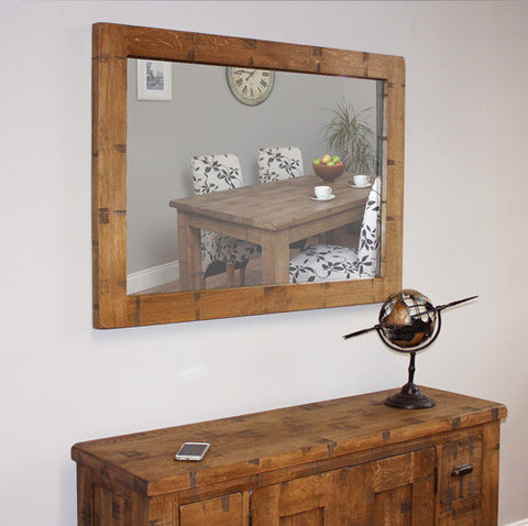 Heyford Wooden Rough Sawn Oak Wall Mirror