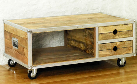 Roadie Chic Wooden Open Coffee Table with Drawers