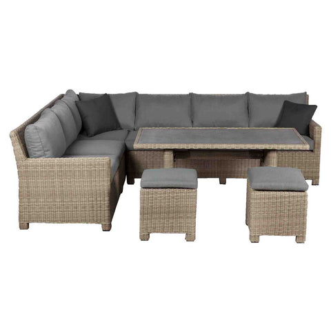 Royalcraft Wentworth Modular Rattan Corner Dining Set.