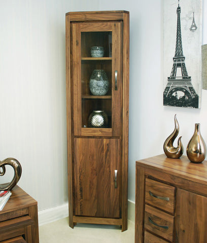 Mayan Walnut Corner Display Cabinet