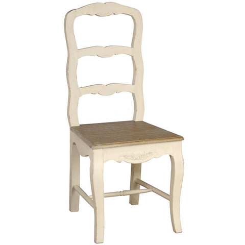 Country Cream Shabby Chic Ladder Back Chair