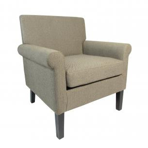 Hamilton Herringbone Brown Plain Fabric Armchair