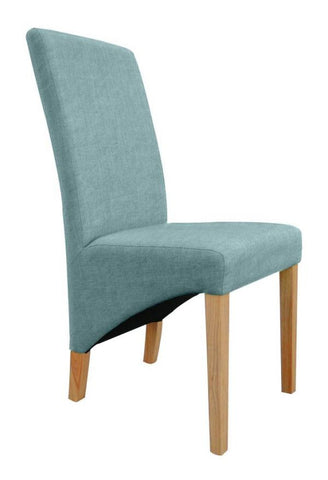 A Pair Of Henley Teal High Back Fabric Dining Chairs