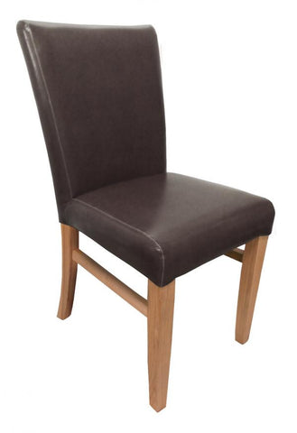 A Pair Of Jacob Bonded Leather Brown High Back Chairs