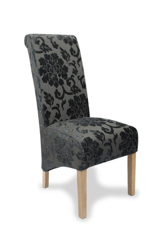 Pair Of Krista Baroque Charcoal Upholstered High Back Dining Chairs