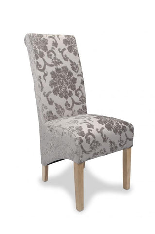 Pair Of Krista Baroque Mink All Over Upholstered High Back Dining Chairs