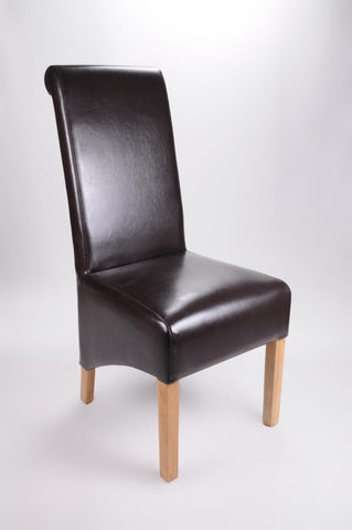 Set Of Four Krista Bonded Leather Brown High Back Chairs