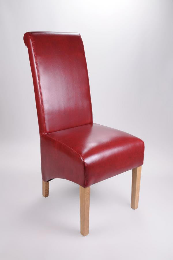 Set Of Four Krista Bonded Leather Burgundy High Back Chairs - lovefurnitureuk - 1