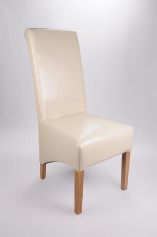 Set of Four Krista Bonded Leather Ivory High Back Chairs