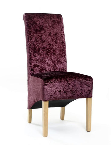 A Pair Of Krista Crushed Velvet Grape High Back Chairs