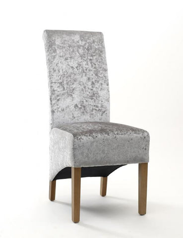 A Pair Of Krista Crushed Velvet Silver High Back Chairs
