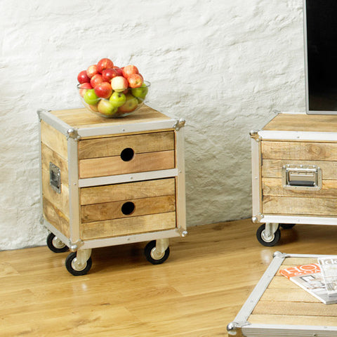 Roadie Chic Wooden Bedside Table with Two Drawers