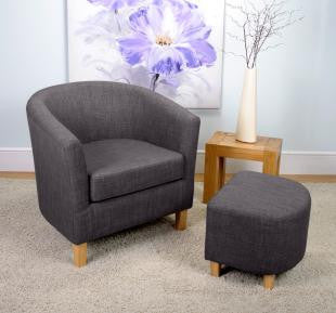 Linen Effect Charcoal Upholstered Tub Chair Set