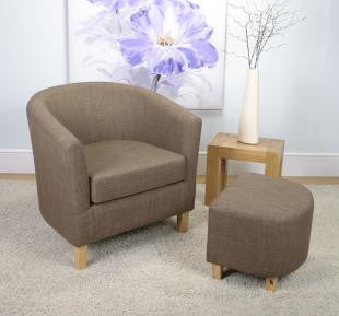 Linen Effect Cinnamon Upholstered Tub Chair Set