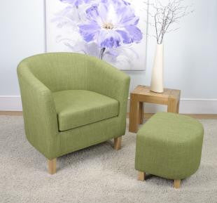 Linen Effect Lime Upholstered Tub Chair Set