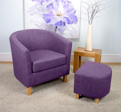 Linen Effect Plum Upholstered Tub Chair Set