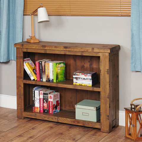 Heyford Low Wooden Rough Sawn Oak Bookcase