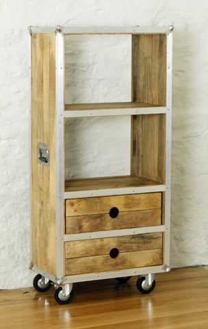 Roadie Chic Low Wooden Bookcase with Drawers
