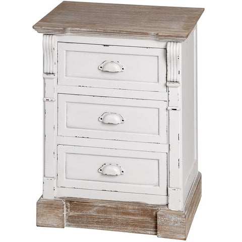 New England Shabby ChicThree Drawer Bedside Table