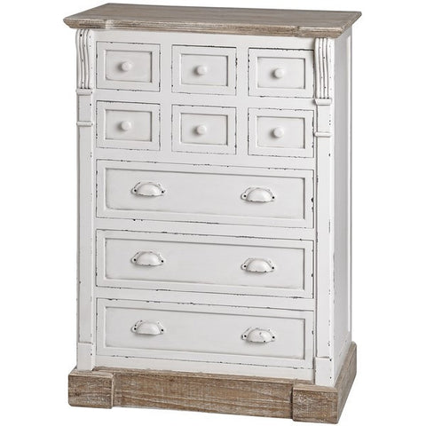 New England Shabby Chic Storage Chest With Nine Drawers