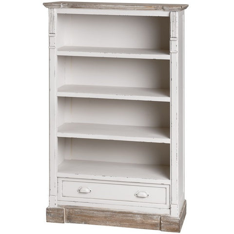 New England Shabby Chic Low Bookcase With Drawer