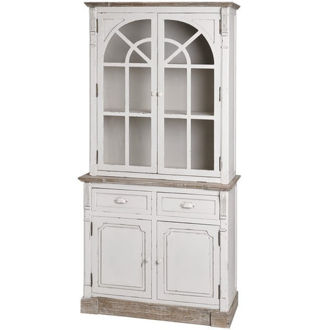 New England Shabby Chic Kitchen Display Cabinet Dresser