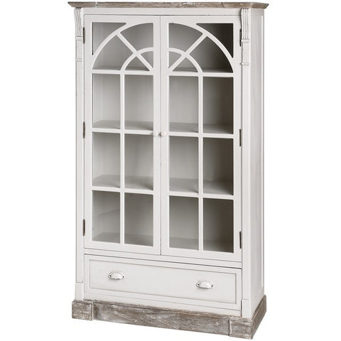 New England Shabby Chic Glazed Display Cabinet