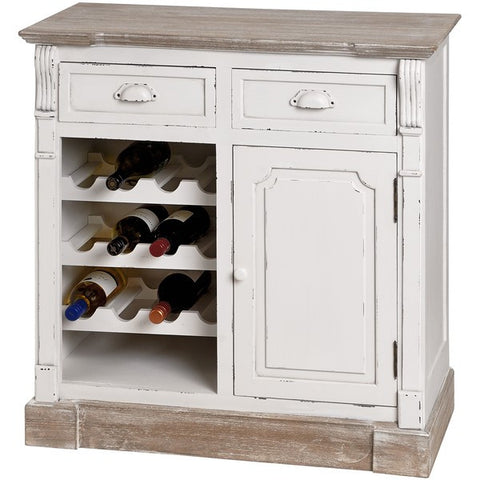 New England Shabby Chic Kitchen Cabinet With Wine Rack