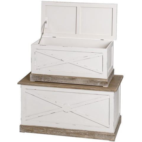 New England Shabby Chic Set of 2 Blanket Boxes