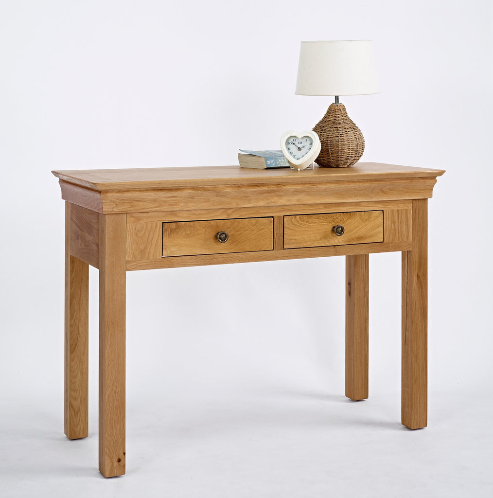 Normandy Oak 2 Drawer Console Table - lovefurnitureuk
