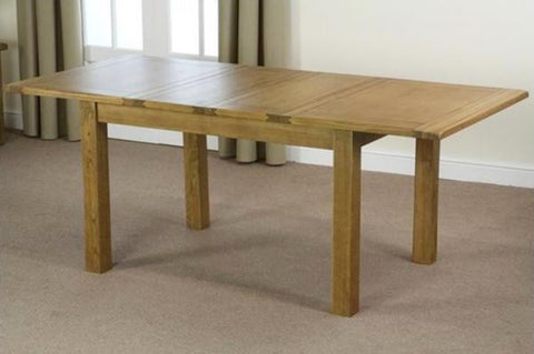 Oakly Rustic Large Hardwood Extending Dining Table