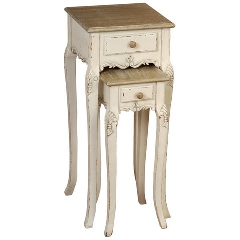 Country Cream Shabby Chic Plant Tables x2